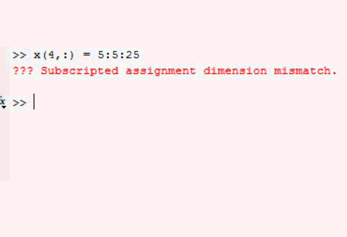Subscripted Assignment Dimension Mismatch – Errors in Matlab